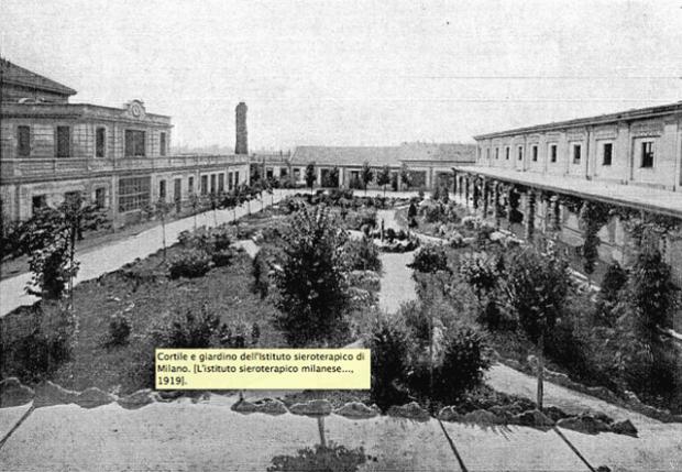 Cortile e giardino dell'Istituto sieroterapico di Milano.