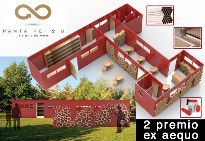 Tutto cartone e totale riciclabilità: un progetto spartano e originale.