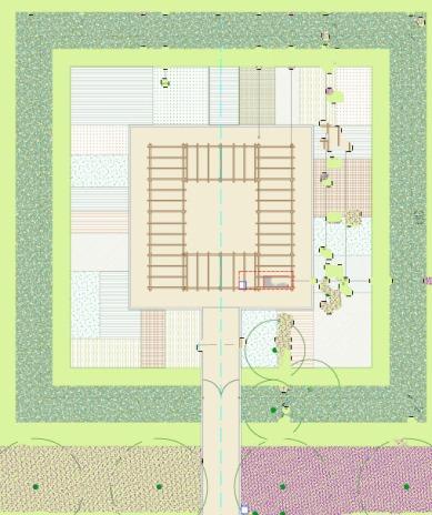 l'ubicazione della pergola all'interno del primo giardino edibile